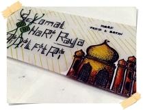 Hias dengan lukisan raya @ tulis ayat 'Selamat Hari Raya'